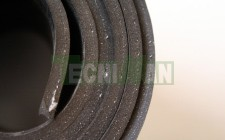 Sheet of black common rubber with textile