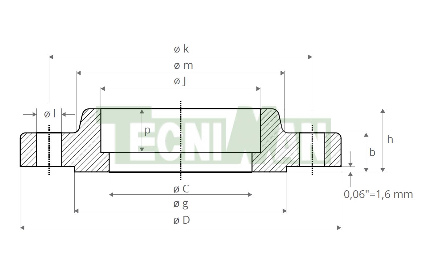 Brida 150 LB Socket welding