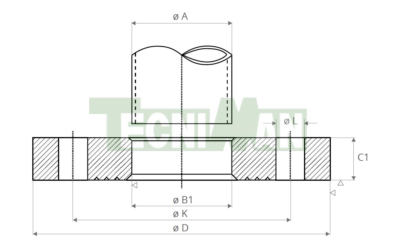 EN 1092-1-01 PN10 Tubo ISO