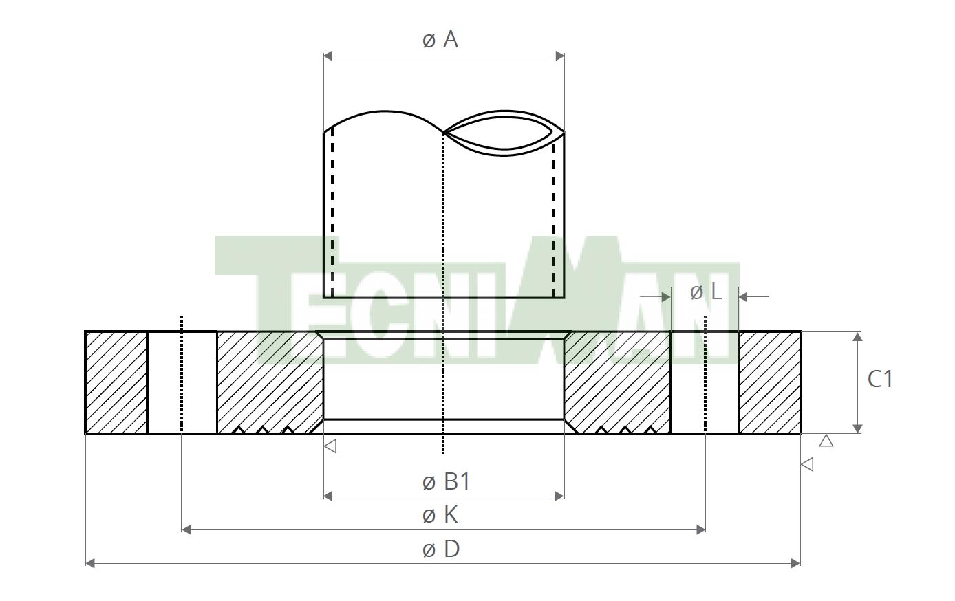 EN 1092-1-01 PN25 Tubo ISO