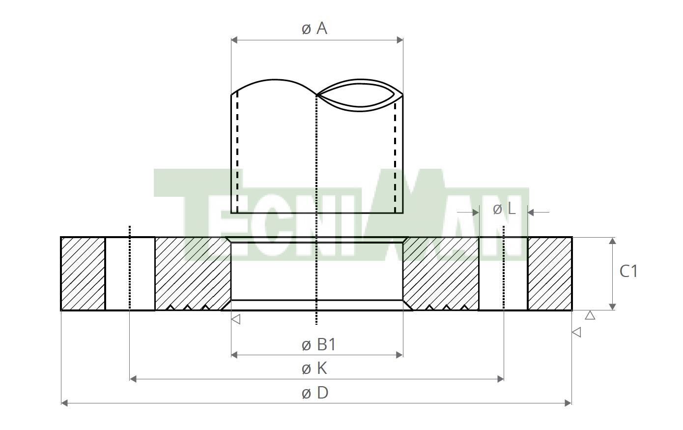 EN 1092-1-01 PN40 Tubo ISO