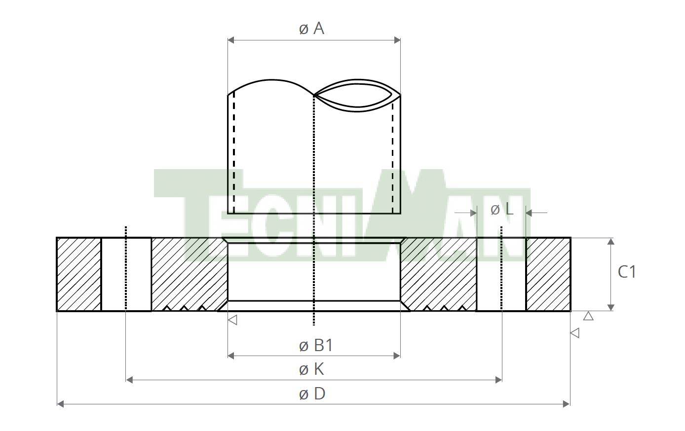 EN 1092-1-01 PN6 Tubo ISO