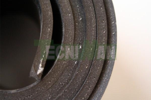 Plancha de caucho común negro con textil